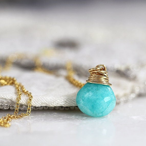 Amazonite Necklace - Green Teardrop Necklace