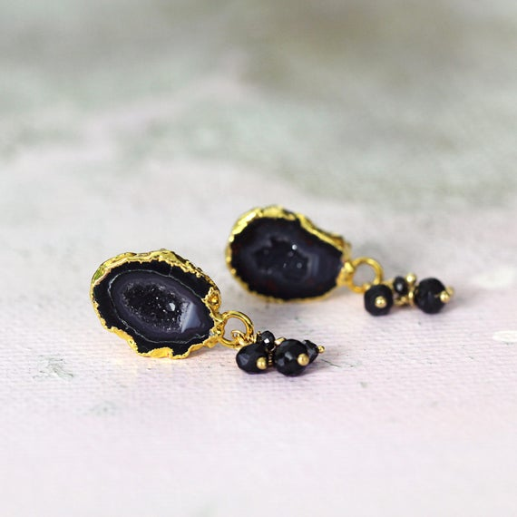 Geode Stud Earrings - Black Geode and Diamond Earrings
