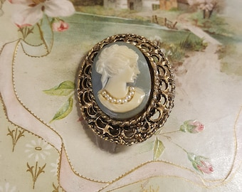 1970s Victorian Revival Cameo with Faux Pearls