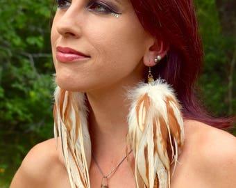 FOXY Long Feather Earrings