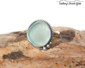 Hawaiian Soft Aqua Blue Beach Glass Set in Sterling Silver Handcrafted Ring - Size 5.5