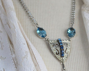 Assemblage Necklace, Elementary Blue, Mary jewelry, Lourdes, France, Bernadette Soubirous, Miracle, apparition Immaculate Conception