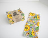 Unpaper Towels Cloth Napkins 12 Flannel Tissues  - Choose Your Size  - 1 PLY - Grey Floral Print