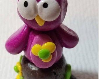 polymer clay mushroom and owl, Fairy Accessories, Mini mushroom and owl, Fairy garden, Purple owl, Purple mushroom, Fairy garden,