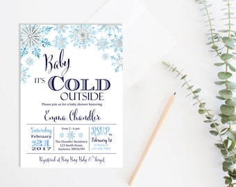 Baby its Cold Outside Baby Shower Invite, Printable Baby Shower Invitation, Snowflake Baby Boy Invite, Winter Shower Invite, Download 303-B