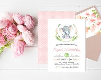 Pink Elephant First Birthday Invite, Printable Elephant First Birthday Invitation, Pink Girl Grey Gray Invite Envelope Liner, Download 305-P