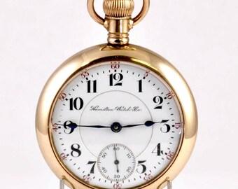 Antique Hamilton Pocket Watch - 18 Size Railroad Grade 21 Jewels Grade 940 - Running - GF 20 Year Case - Gold Pocket Watch from 1910 - Mens
