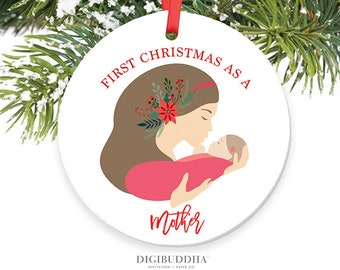 First Christmas as a Mother Ornament New Mom Christmas Ornament Girl New Mommy Ornament Girl Keepsake New Parents Ornament New Mother Gift