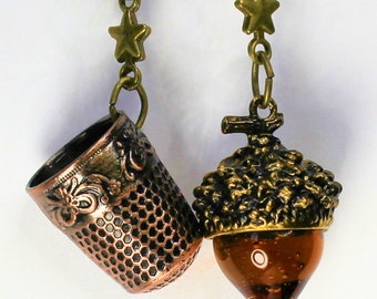 Peter Pan Thimble and Acorn Kiss Necklace SET in Bronze and Amber Glass, Men, Women, Sweetheart, Lover, Sister, Best Friend