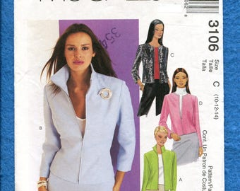 McCalls  3106  Short Waisted Zipper Front Jacket Sizes 10..12..14 UNCUT