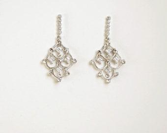 Crystal chandelier earrings, filigree silver pendant - style 717