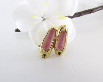Ballet Shoes Brooch in Gold + Rose Enamel - Vintage 1950s Ballerina Pin