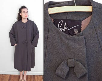 Grey BOW Coat Collarless 1950s Peerless Winter 3/4 Sleeve M / L