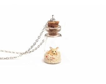 Fennec Fox Necklace, Miniature Jar, Terrarium Necklace, Animal Lover Gift; 16 inch chain