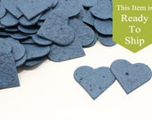 Midnight Navy Blue Plantable Seed Paper Confetti Hearts - READY-TO-SHIP - Wedding Favors, Bridal Shower Favors, Baby Shower Favors