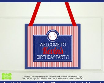 Baseball Welcome Sign - Baseball Welcome Sign - Personalized Party Sign - Baseball Party Sign - Available Digital and Printed