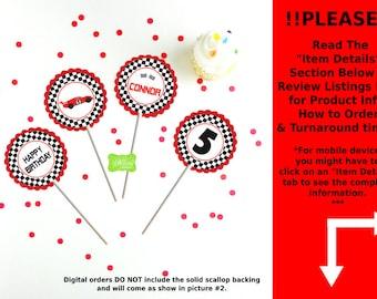 Race Car Party Circles - Race Car Cupcake Toppers - Race Car Toppers - Racing Toppers - Digtal & Printed Available