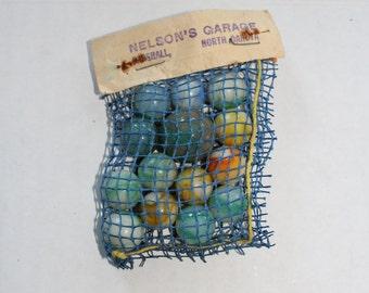 Vintage 1940s Akro Agate Marbles In Bag
