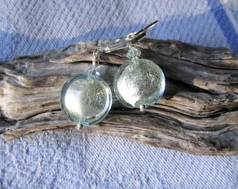 Murano Lightest Aqua Silver Round Earrings on Sterling Lever Backs, Venetian Disc Beads, Light Aqua Bead Earrings, Shimmering Blue Earrings