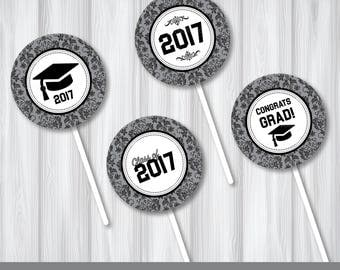 Graduation 2017 Digital Stickers Cupcake Topper Party Supply  2 in Black Damask Sheet Instant Download