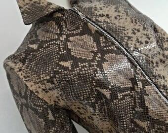 SALE:)) ITALY . Italian Elegance . NoS Snake Animal Reptile Print Genuine Leather Jacket Coat Vintage 80s S New Old Stock NwT Unused Unworn
