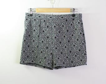 Vintage 1960s 1970s Black and White Patterned Shorts 60s Shorts 70s Shorts Polyester Shorts 60s Patterned Shorts 70s Patterned Shorts