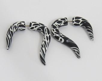 Fake ear plugs, Black and white fake ear plugs,  hooks fake ear plugs, animal print, clay ear plugs, unique ear plugs, Shygar Plugs