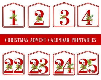 Christmas Advent Calendar Printable Numbers 1 - 25, Instant download, Countdown to Christmas