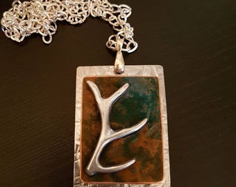 Antler Charm Necklace Pendant with Verdigris Copper