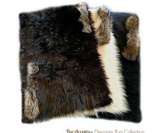 Faux Fur Shag Sheepskin Throw Rug - Shaggy - Soft - Thick - Coyote Wolf Trimmed Rectangle Carpet - Fur Accents Designer Rugs USA