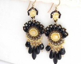 Long chandelier earrings, Black & gold earrings, long drop beaded earrings, summer finds, unique gifts