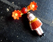 Cute French Vintage Dangling Celluloid Brooch From the 1940's 1950's, Little Girl with Flowers and Ladybug