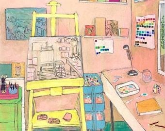 Abstract art studio original painting interiors wall art  - The Artist's Studio V