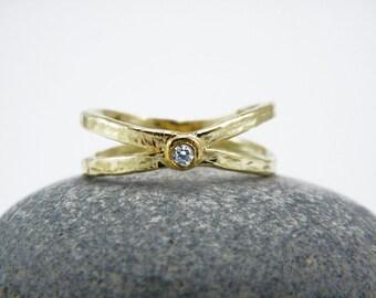 Gold X ring Cross gold ring Chevron zircon ring Criss Cross Ring X Cross Ring Hammered gold ring