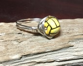 Water Polo Wire Wrapped Ring, ceramic bead, custom size