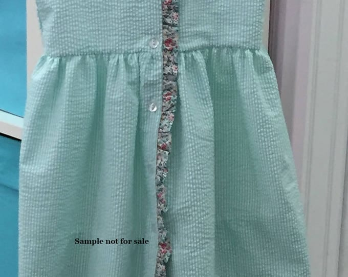 Childrens Corner Pattern / Ginger Pattern  /  Sundress Pattern / Girls's Dress Pattern /  Button Front / Ruffled Neckline / Ruffled Front