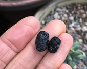 2 Tektite cabochons. Matching stones. Meteorite.Black natural stones. Two cabs. Rare. Black stones. Pair. Small cabochons. Set. Two stones.