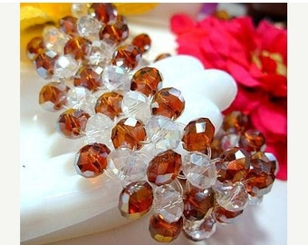 """Crystal Bead 5 Row Bracelet Topaz & Clear Faceted Stones Stretch Links 1"""" Vintage"""