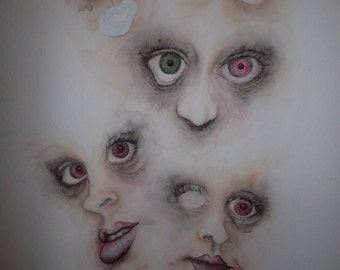 Creepy Faces - Original Art - RED EYES - Smoky - Horror - Ghosts