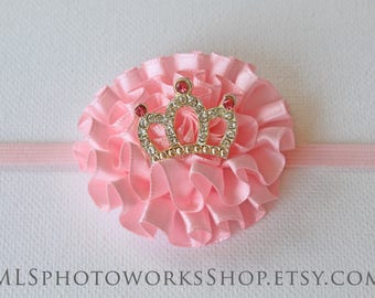 Baby Pink Mini Princess Headband - Newborn Princess Baby Girl Hair Bow