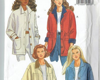 Butterick  6919 Misses XS S M (6-8-10-12-14) Loose Fitting Jacket Unused 1993
