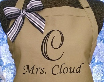 Personalized Apron Monogrammed Large Initial Name Wedding Gift