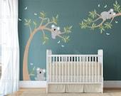 Koala Wall Decal | Koala Bears in Tree with Dragonflies | Custom Baby Nursery and Children's Room Interior Design |  Easy Application 058