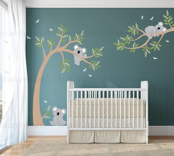 Koala wall decal koala bears in tree with dragonflies for Baby shower wall mural