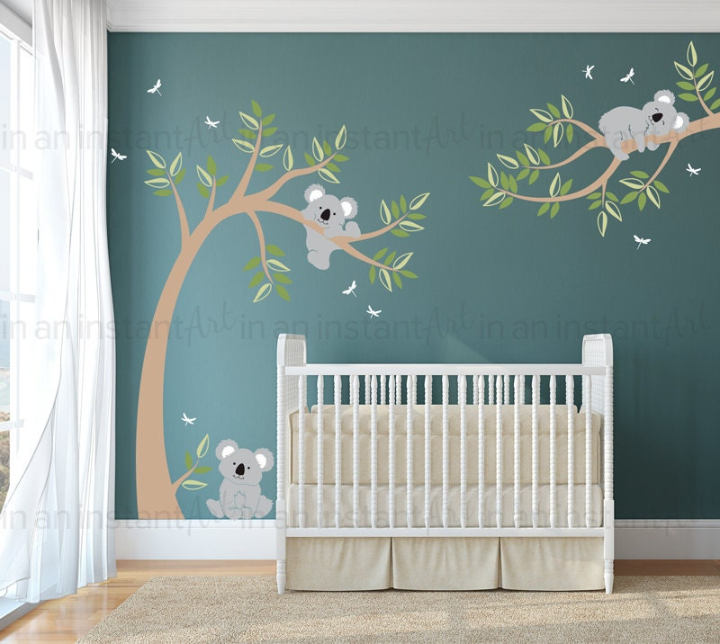 Koala wall decal koala bears in tree with dragonflies for Baby room sticker decoration