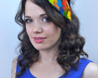 Parrot Feather Hair Clip in Bright Tropical Colours | Feather Fascinator | Feather Headpiece | Tropical Headpiece | Festival Headpiece