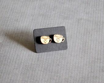 Tea Cup Stud Earrings : Wood Cute Posts