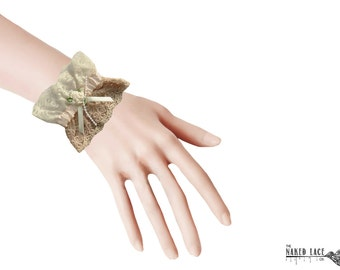 W10 Peach, Cream and Beige Lolita Lace Wrist Cuffs