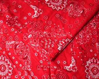 "Red Bandana Pattern Rayon Fabric, 1 1/2 yd x 57"", Red Rayon Yardage"