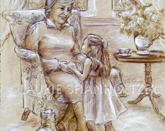 Girl and Grandmother, art print, familyart, Nanna, monotone, Brown, 'Tell Me Again, Grandma'  Laurie Shanholtzer choose size canvas or paper